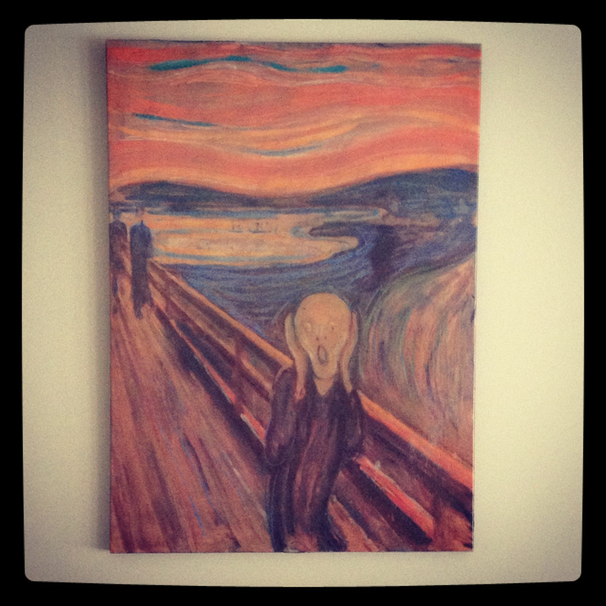 The Scream canvas reproduction hanging on wall